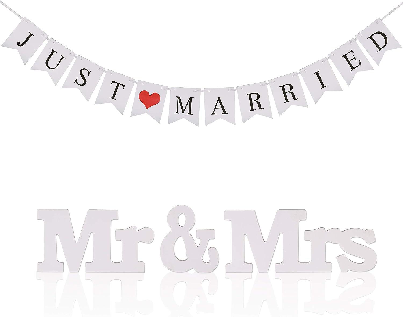 KAKOO BanderasBoda banderines Blanco con Cinta y Ms Mr de Just Married de Palabras con corazón roja de banderillas jardín deFoto Prop para Fiestas y Boda para Celebrar