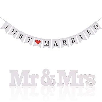 KAKOO Banderas Boda banderines Blanco con Cinta y Ms Mr de Just Married de Palabras con corazón roja de banderillas jardín de Foto Prop para Fiestas y ...