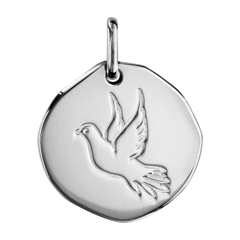 So Chic Bijoux © Pendentif Médaille Galet 18 mm Colombe Paix Argent 925 M151176