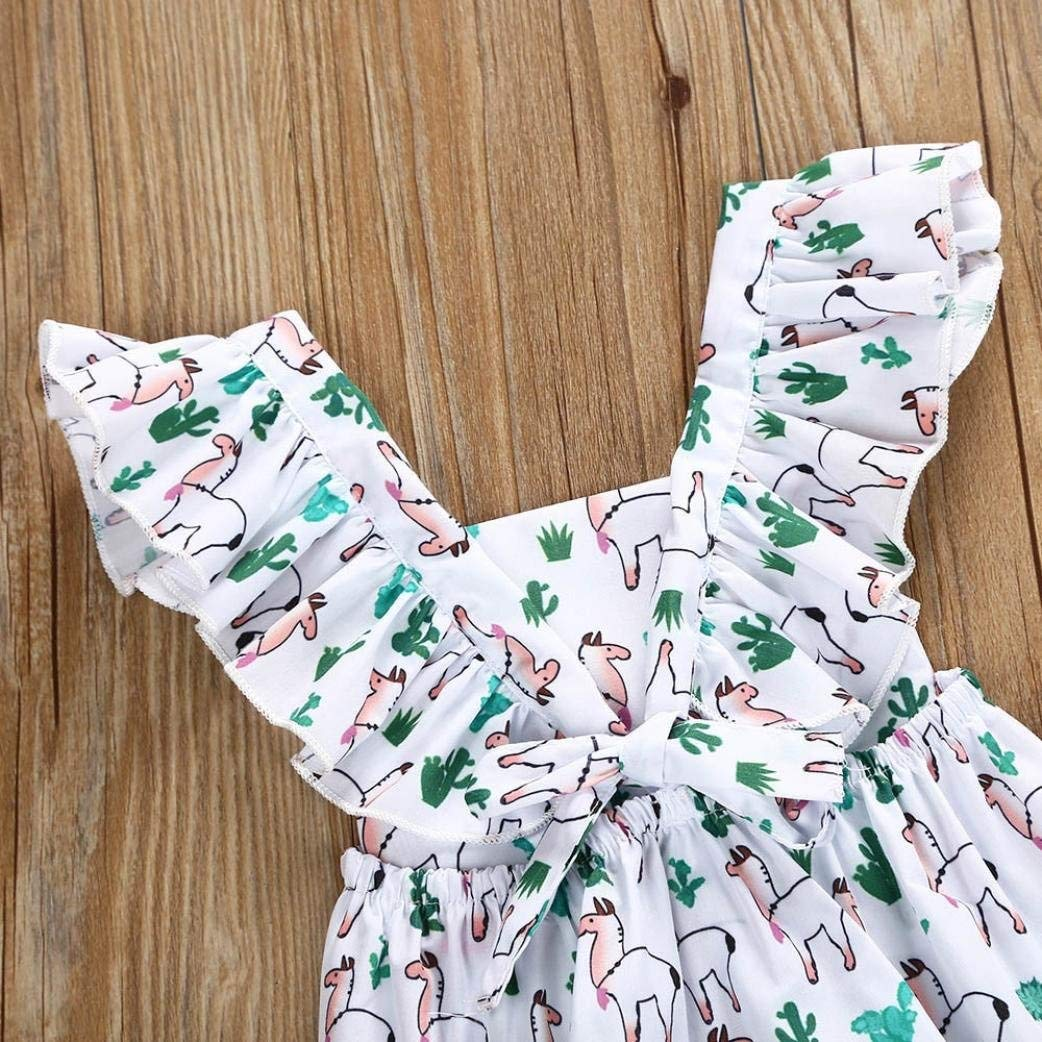 MAOMAHREWW Infant Baby Girl Fly Sleeve Cartoon Ruffle Romper Jumpsuit Outfit Clothes