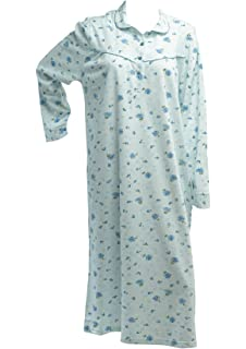9a0700d478 Ladies Floral Rose Knitted Cotton Nightdress Womens Long Sleeved Nightie  Medium - XXL (Blue or