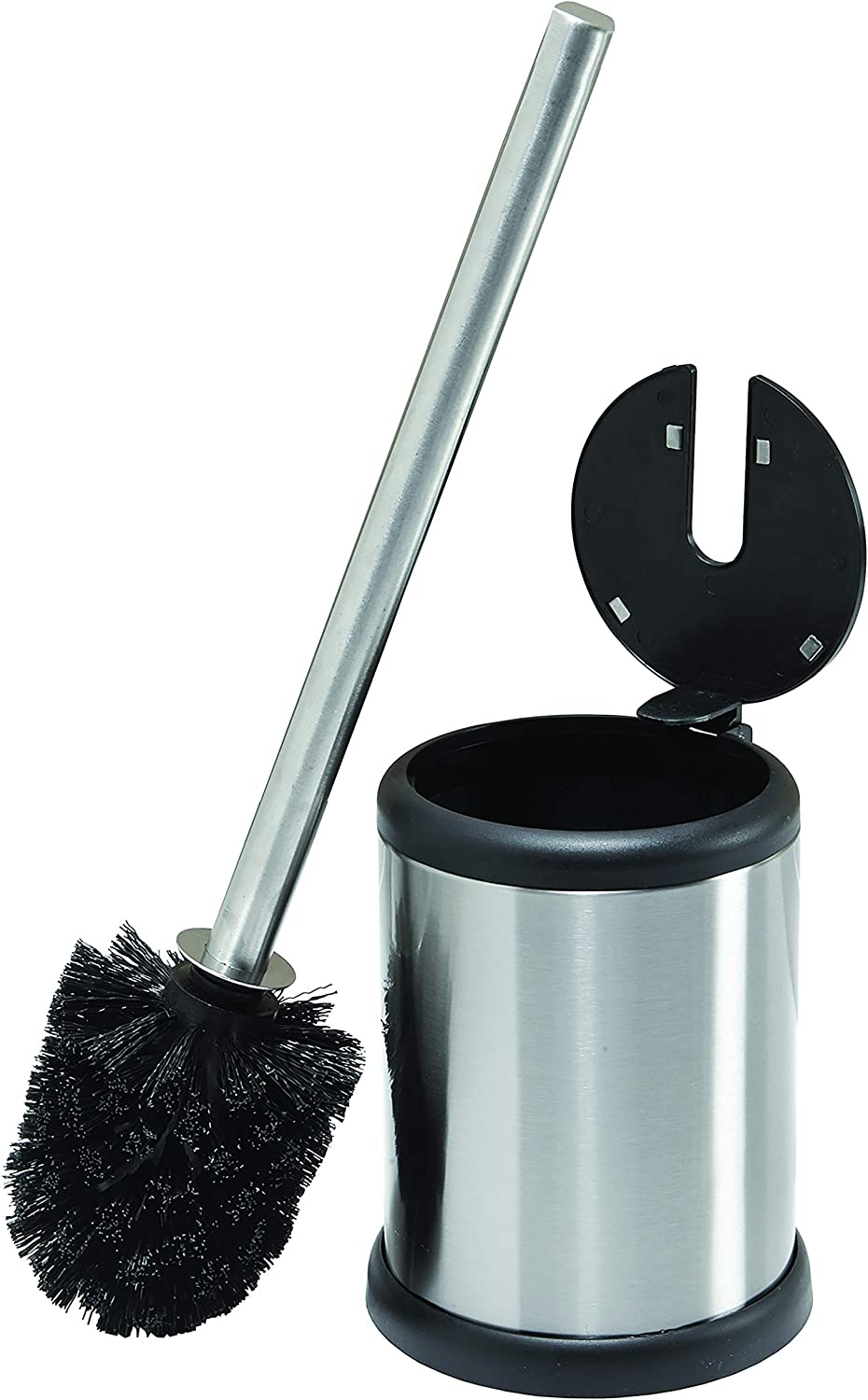 Bath Bliss Toilet Bowl Brush And Holder With Self Closing Lid Space Saver Deep Cleaning Finger Print Proof Finish Hygienic 4 5 Round By 14 75 High Stainless Steel Home Kitchen