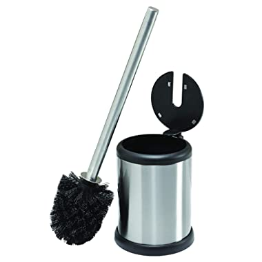 Bath Bliss Stainless Steel Compact Toilet Brush Set with Self Closing Lid, 4.5  Round by 14.75  high,