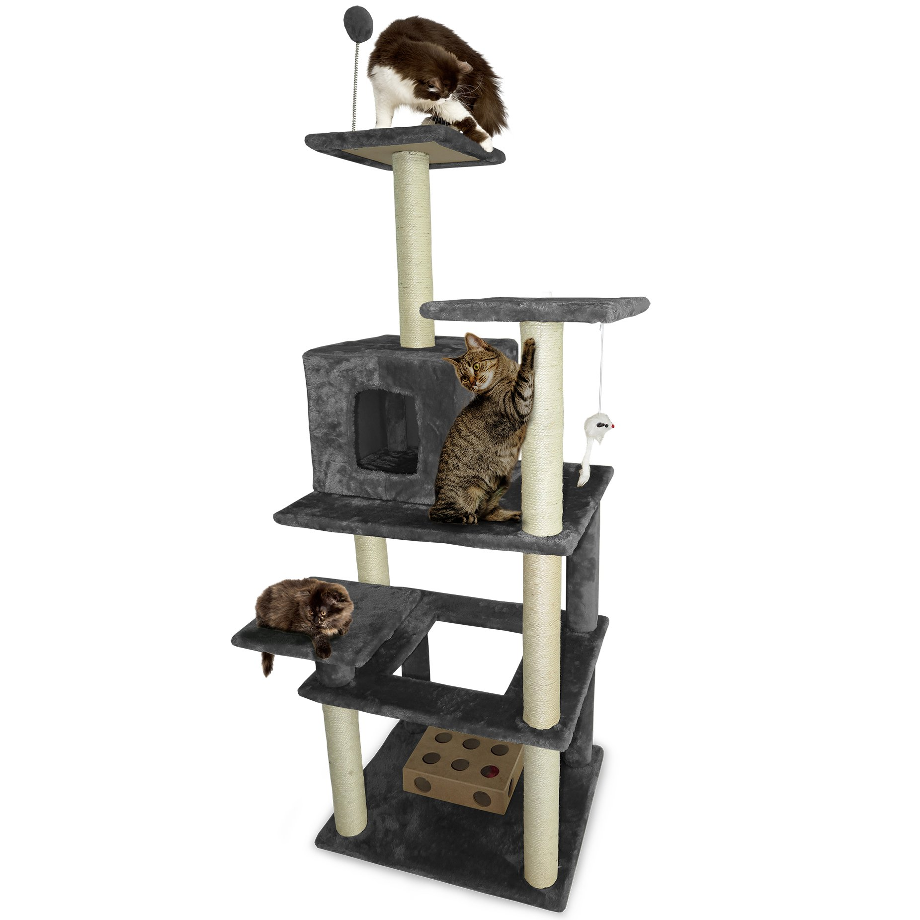 Furhaven Tiger Tough Cat Tree House Furniture for Cats and Kittens, High Rise, Gray
