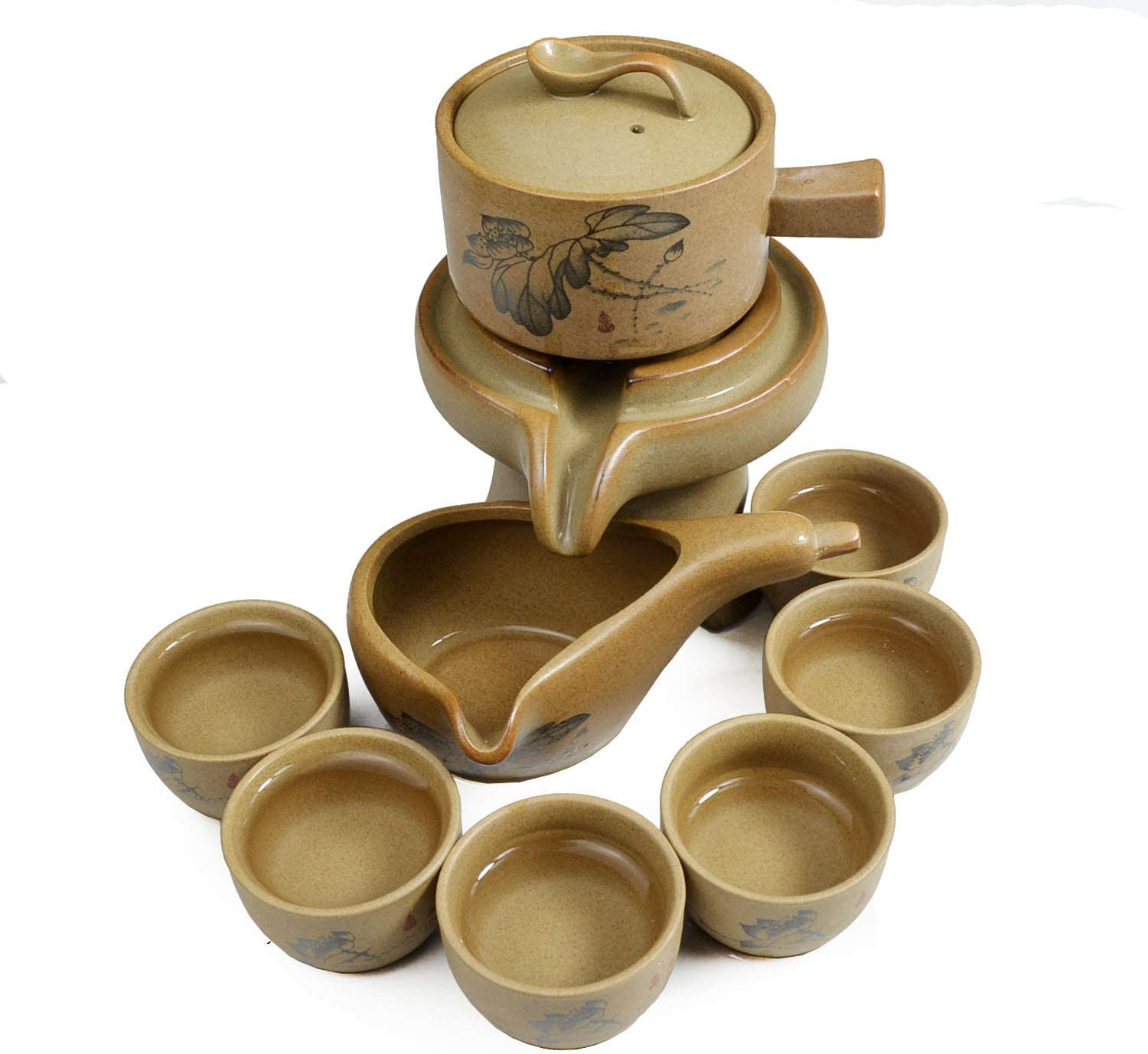 Chinese Gongfu Tea Gift Set Stone-Mill Lotus Design Teapot with 6 Cups Kung Fu Tea Ceremony Party Home Office Decor