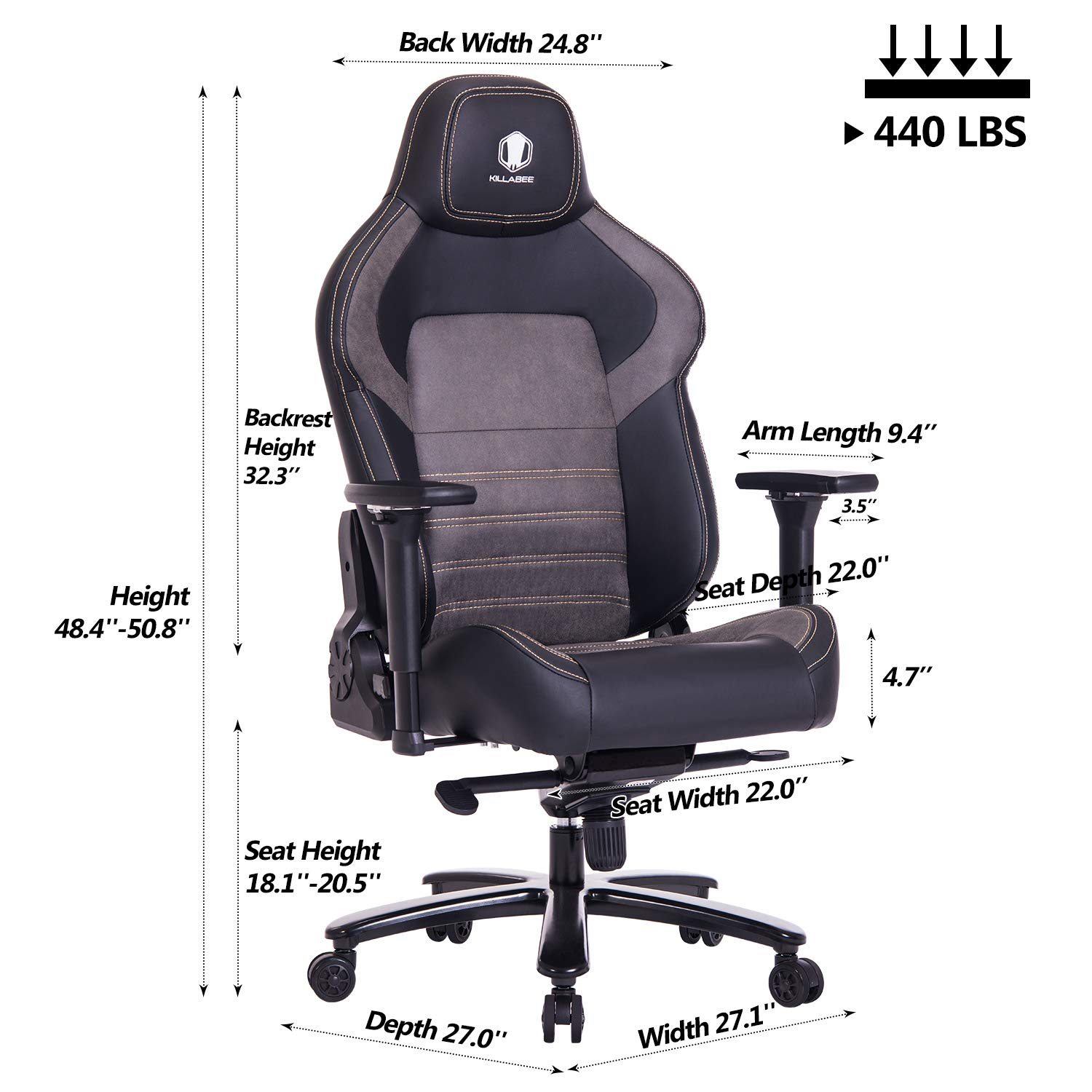 Killabee Big And Tall 400lb Memory Foam Gaming Chair Metal