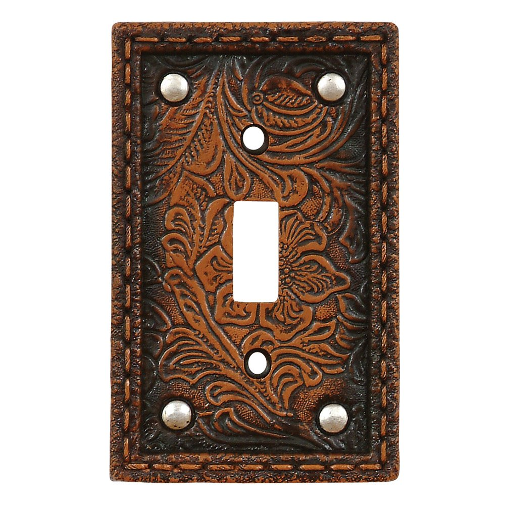 Black Forest Decor Tooled Flower Leather Rustic Single Switch Plate - Southwestern Decor