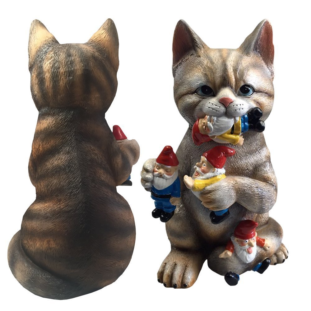 By Mark & Margot - Mischievous Cat Garden Gnome Statue Figurine - Best Art Décor for Indoor Outdoor Home Or Office by Mischievous Cat Massacre (Image #2)