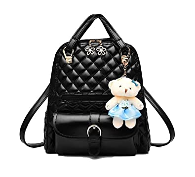 1b6b755d5715 Di Grazia Women s 2 Way Convertible Backpack Handbag (Black-Quilted-Teddy- Backpack