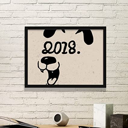 Amazon.com: 2018 Happy New Year Funny Big Dog Simple Picture Frame ...