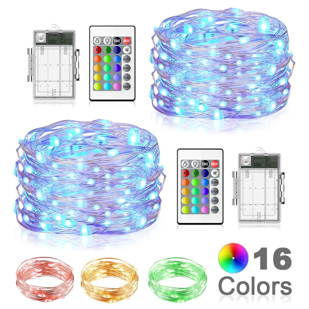 LED String Lights, Beiwas 2 Pack Battery Operated Fairy Lights 16 Colors 16ft Outdoor Indoor String Lights with Remote Control LED Lights for Bedroom,Patio,Outdoor Garden,Stroller,Christmas Tree