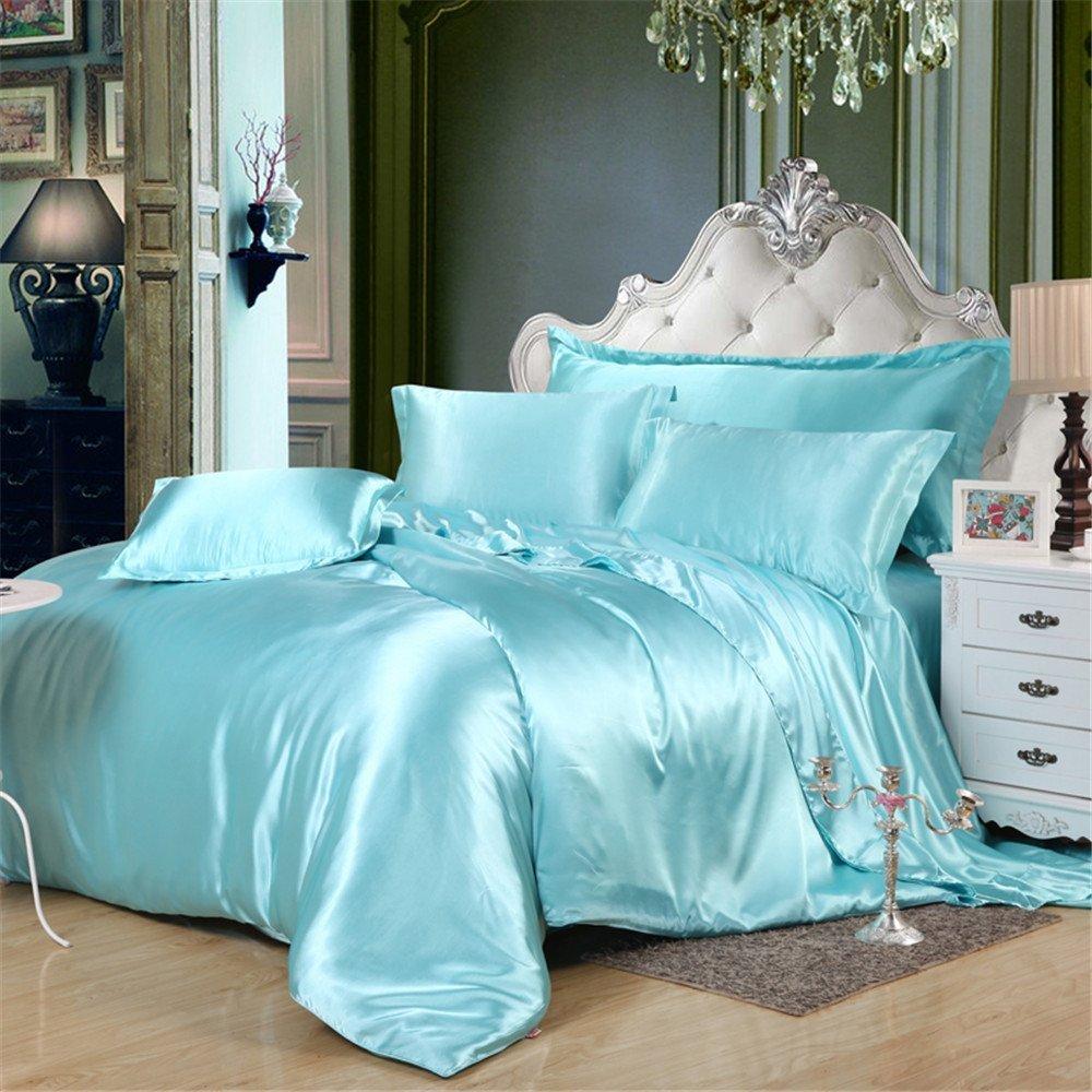 MoonLight Bedding Ultra Silky Soft and luxurious Satin 4-Piece Olympic Queen Bed Sheet Set 15'' deep - Aqua Blue