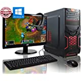 ADMI GAMING PC PACKAGE: Powerful Desktop Computer, 21.5 Inch 1080p Monitor, Keyboard & Mouse Set (PC SPEC: AMD A6-6400K 4.1GHz Dual Core Processor with Radeon HD 8470D Graphics, USB 3.0, 500W PSU, 1TB Hard Drive, 8GB RAM, 24 x DVDRW Drive, Wifi, Red Devil Gaming Case, Pre-Installed with Windows 10 Operating System)