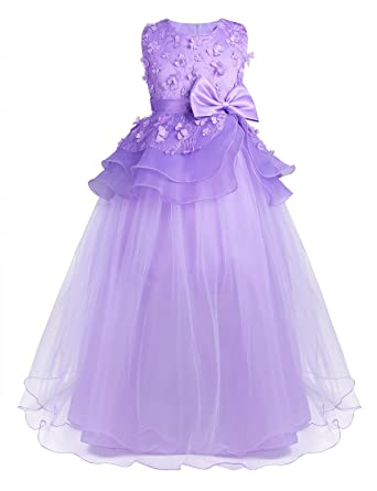 CHICTRY Girls Junior 3D Flowers Mesh Lace Party Maxi Prom Gown Bridesmaid Wedding Dresses Lavender 2