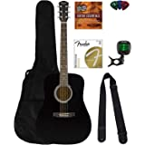 Fender Squier Dreadnought Acoustic Guitar - Black Bundle with Fender Play Online Lessons, Gig Bag, Tuner, Strings, Strap, Pic