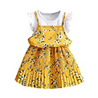 Yukong Toddler Kids Baby Girls Outfit Clothes Floral Print Pageant Party Princess Dress for Age3-7 Years Old