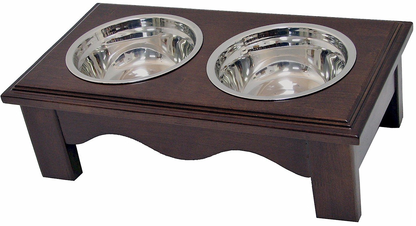 Crown Pet Products Pet Diner Elevated Raised Dog Bowls, Small, Expresso
