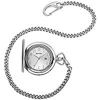 Classic Quartz Mens Pocket Watch, Stainless Steel Silver-Tone Chain, Silver-Tone (Model: 96B270)