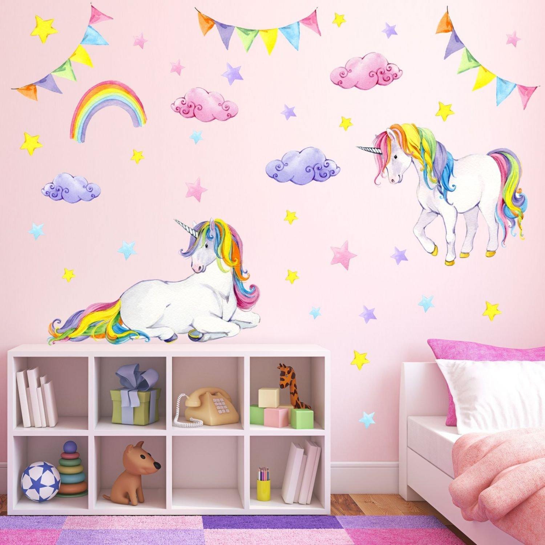 2c8145e586 nikima - 072 Wandtattoo Einhorn bunt Regenbogen Kinderzimmer Baby - in 6  Größen - niedliche Kinderzimmer Sticker Babyzimmer Aufkleber süße Wanddeko  Wandbild ...
