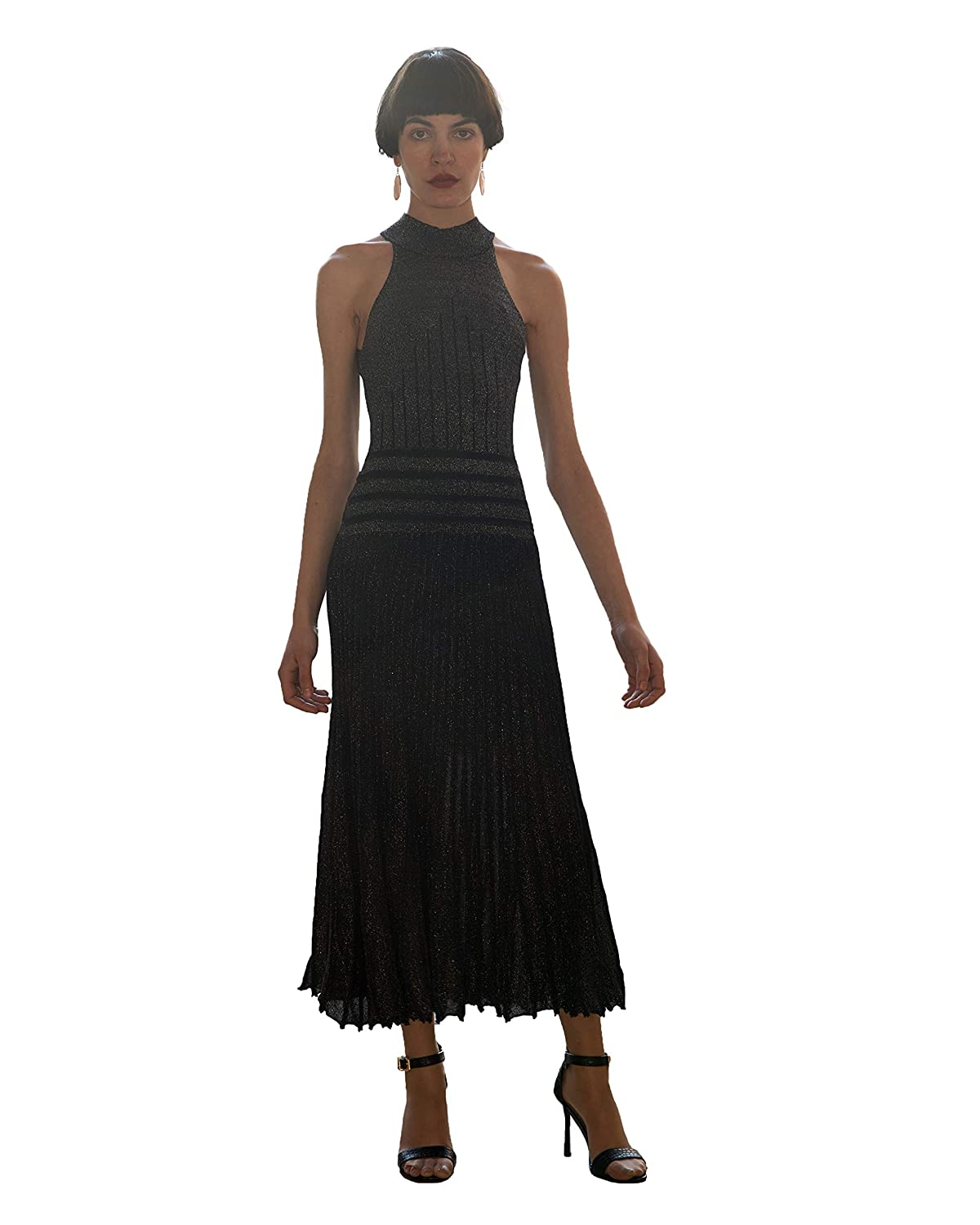 3a57faa61944 CY Boutique Metallic color Bodycon bandage pleated long evening Dress:  Amazon.co.uk: Clothing