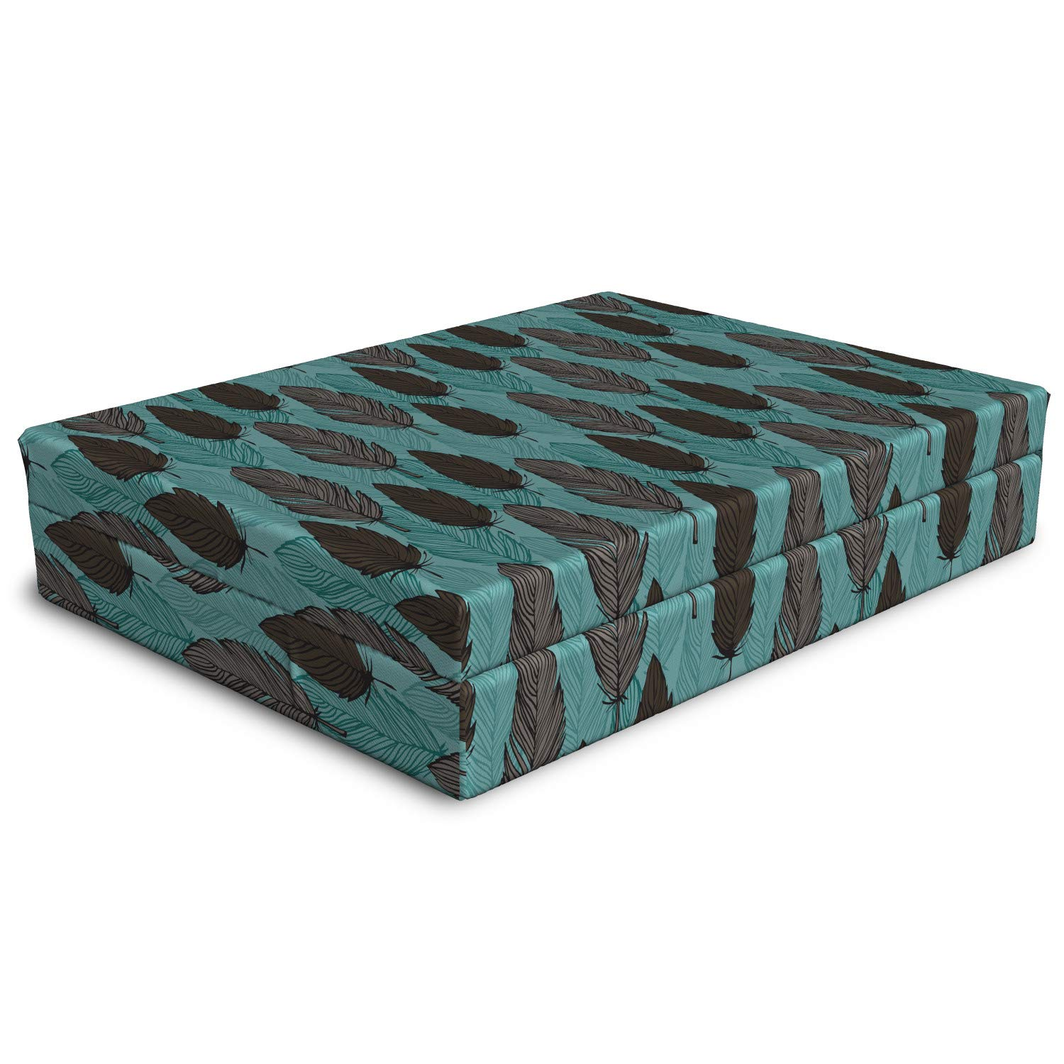 Lunarable Feather Dog Bed, Bohemian Plume Motif in Outline and Earth Tones Designs, Dog Pillow with High Resilience Visco Foam for Pets, 32'' x 24'' x 6'', Pale Teal Warm Taupe and Dark Taupe
