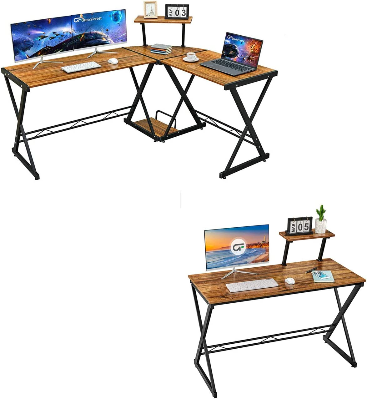"""GreenForest L Shaped Desk 58"""" Reversible Corner Computer Desk with Movable Shelf and CPU Stand and 47"""" Computer Desk Small Gaming Study Desk with Moveable Storage Shelf"""