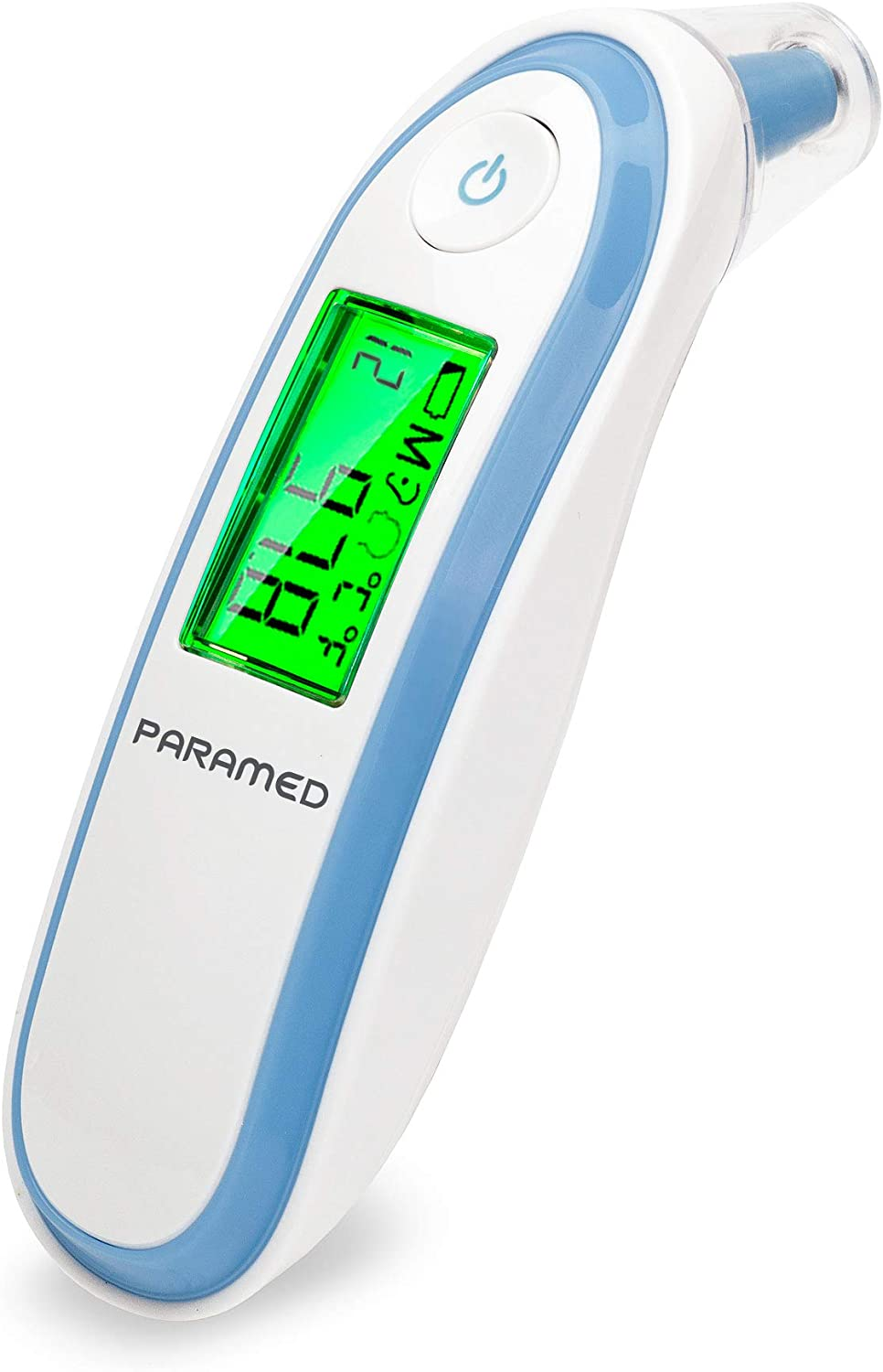Digital Forehead and Ear Thermometer by Paramed - Instant Scan Dual Function Baby Infrared Medical Thermometer - Backlight Display with Fever Alarm - Clinically Calibrated for Adult Kids Infant - 2019