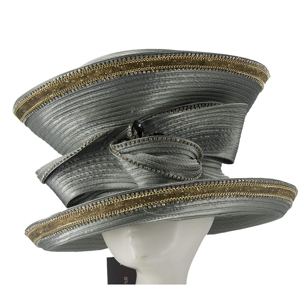 Silver June's Young Women Church Hats Navy color Elegant Lady Party Wear