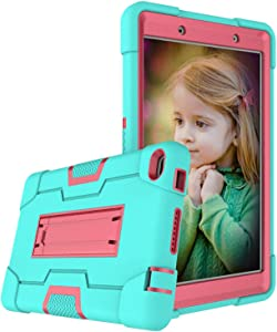Cherrry for Lenovo Tab E8/TB8304F 8.0 Inch Tablet Case,Heavy Duty Shockproof Hybrid Rugged Hard Armor Full Body Protective Case with Built-in Stand for Lenovo Tab E8/TB8304F 8.0 Inch(Green/Pink)