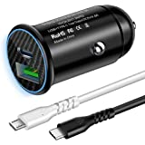 Fasgear 30W USB-C Car Charger, Power Delivery 3.0 & Quick Charge 3.0 Car Adapter with 2 Pack 3ft Cables for iPhone X/XS/XR/XS Max, iPad Pro 2018, Galaxy S9/S10, Pixel 2 XL, Mate 10 and etc