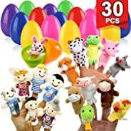 TURNMEON 30 Pieces Multicolor Easter Surprise Eggs with 30 Different Finger Puppets Toys Inside, Soft Velvet Animals Puppets