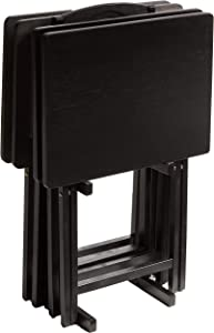 PJ Wood Folding TV Tray Table & Snack Table with Storage Rack, Black - 5 Piece Set