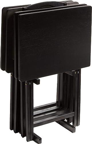 PJ Wood Folding TV Tray Table Snack Table with Storage Rack, Black – 5 Piece Set