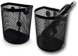 Magnetic Pen/Pencil Mesh Metal Basket/Holder/Container/Storage/Organizer for Kitchen/Refrigerator/Fridge/Whiteboard/Dry Erase/File Cabinet/Locker (Black)(Set of 2)