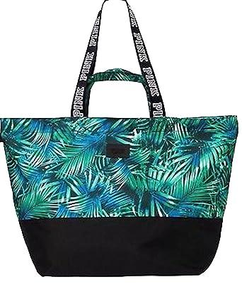 Amazon.com: Victoria's Secret Pink Tote Beach Bag Palm Leave Print ...