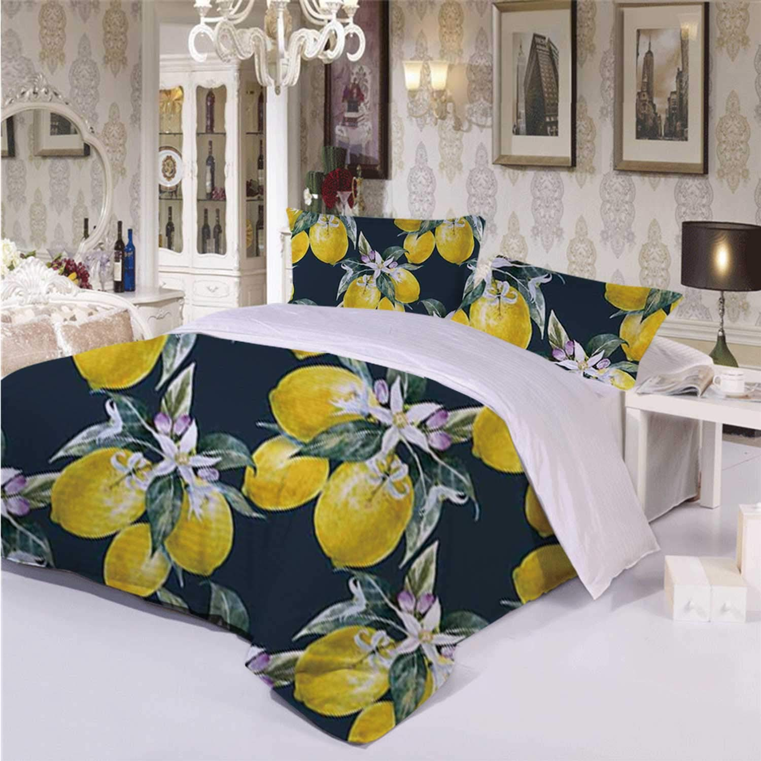 Floral Comfortable 3 Piece Bedding Set,Lemon Tree with Flowering Plant Blooms Botany Eco Evergreen Leaves Artwork for Hotel,Twin