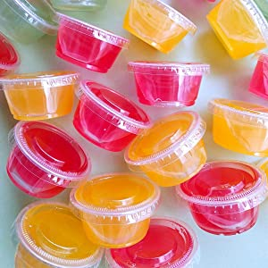 TashiBox 200 Sets - 3.25 Ounce Disposable Plastic Jello Shot Cups with Lids, Souffle Portion Cups