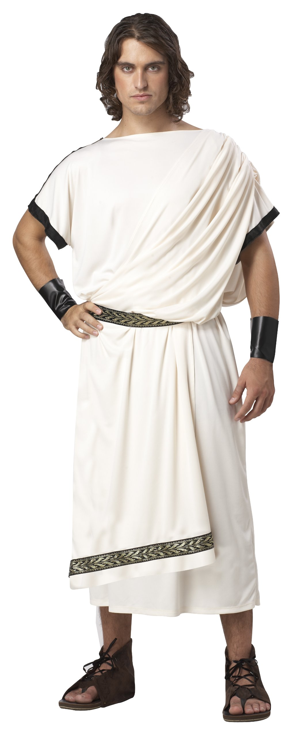 California Costumes Men's Deluxe Classic Toga Set, Cream, One Size