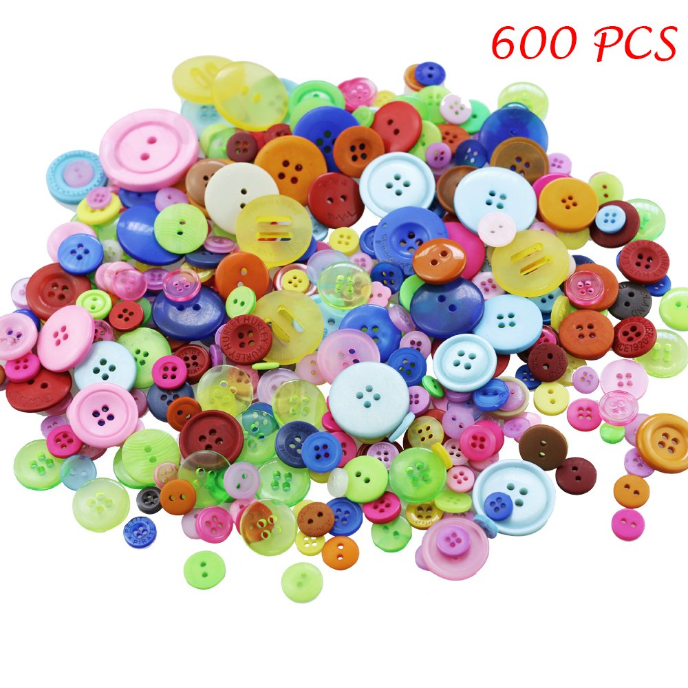 Amersumer 600 Pcs Assorted Sizes Resin Buttons ,Round Craft Buttons for Sewing DIY Crafts,Children's Manual Button Painting 4337003806