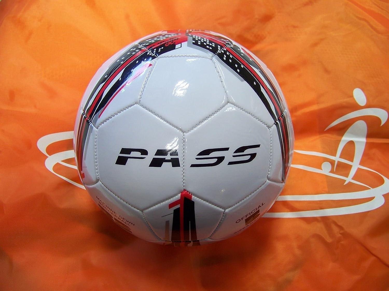 Pass 10 ct – サイズ5、32パネルマシン縫製サッカーボール。公式サイズと重量。 B06XV159DD Red,Black & Grey Red,Black & Grey