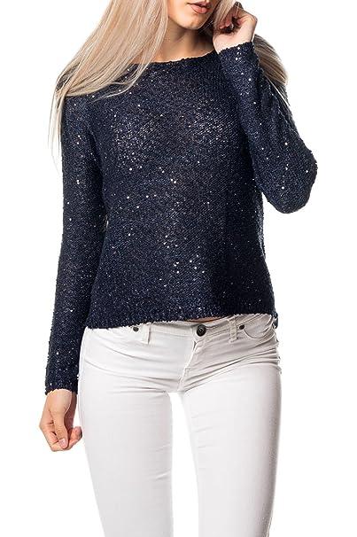 Vero Moda Blusas para Mujer Maglia con velo e paillettes Vmemerald - Blu-S