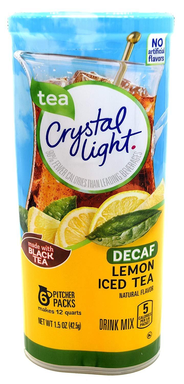 Crystal Light Decaf Iced Tea Drink Mix, Natural Lemon Flavor (12-Quart), 1.5-Ounce Packages (Pack of 4)
