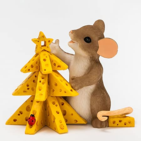 Enesco Charming Tails Oh Christmas Cheese Figurine, 2.5-Inch