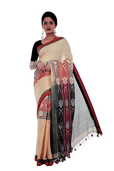 7ca875149e Avik Creations Women's Kasavu Handloom Khadi Cotton Daily Wear Saree Off- White Red Black