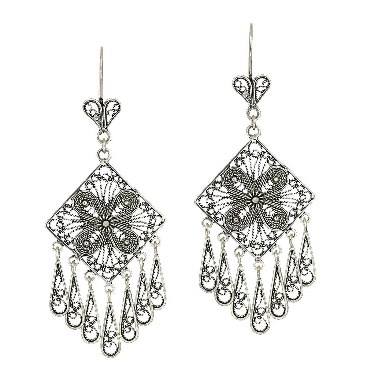 925 Sterling Silver Artisan Filigree Tassel Chandelier Earrings
