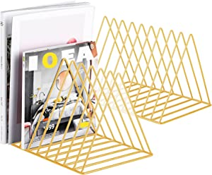 2 Pcs Magazine Holder, Newspapers Holder,Letters Storage,Desktop File Sorter Organizer Triangle Bookshelf Decor Home Office,Photography Props(Golden)