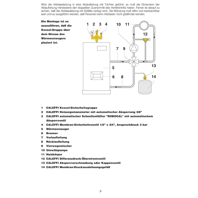Caleffi Groupe de s/écurit/é Chaudi/ère 50/kW Soupape de s/ûret/é Groupe de s/écurit/é chauffage