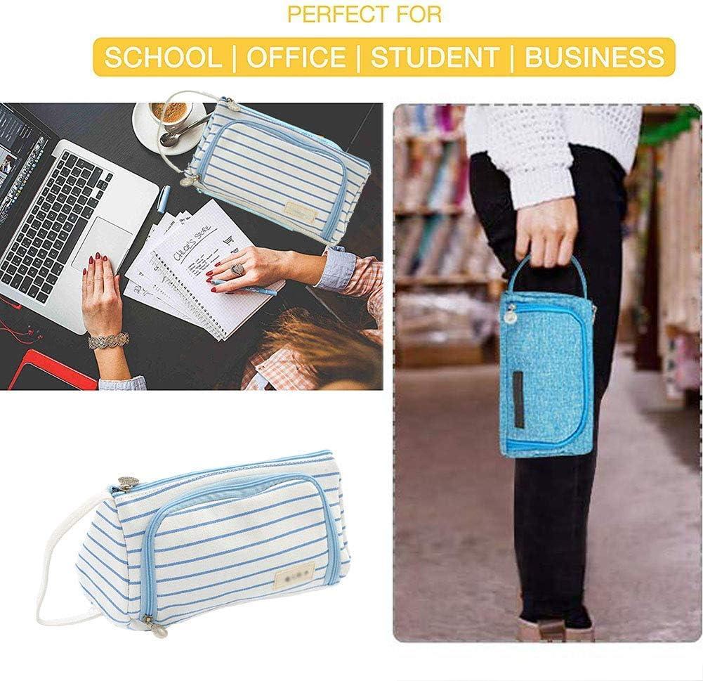 grande capacit/à ufficio cancelleria BYSOU con cerniera Grigio. universit/à Astuccio per matite e penne per scuola