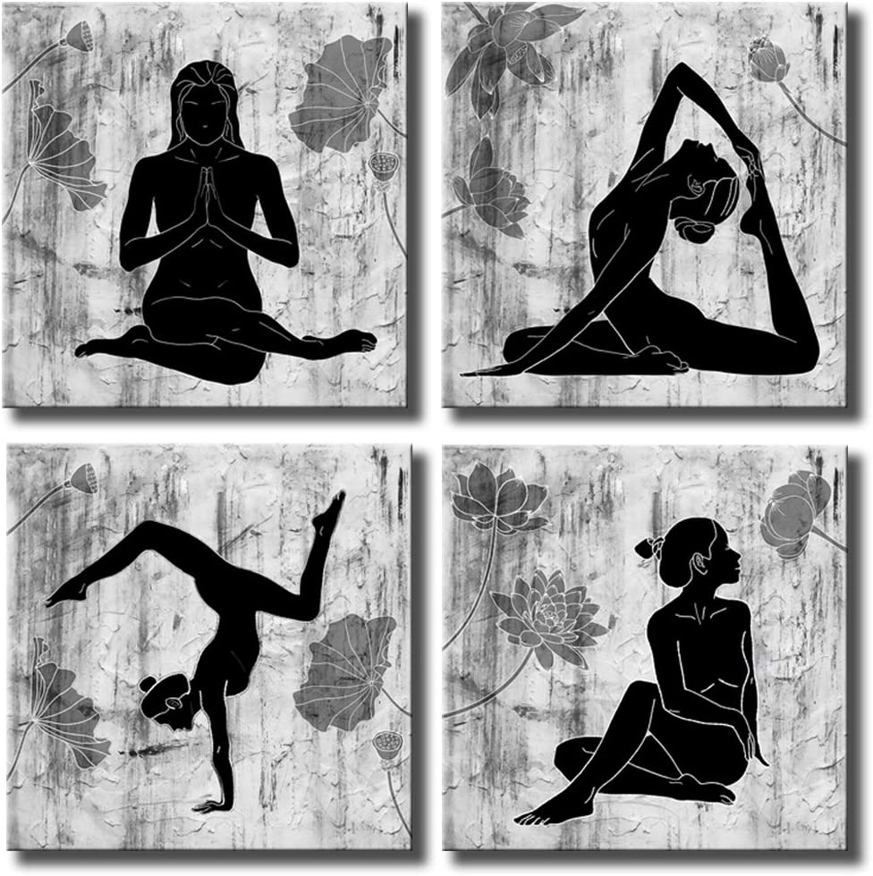"""KLVOS Abstract Yoga Wall Art Canvas Prints 4 Panels Black and White Zen Painting Picture with Lotus Flower Modern Wall Decor Framed for Home Wall Decoration 12""""x12""""x4 pcs (12""""x12""""x4 Panels)"""