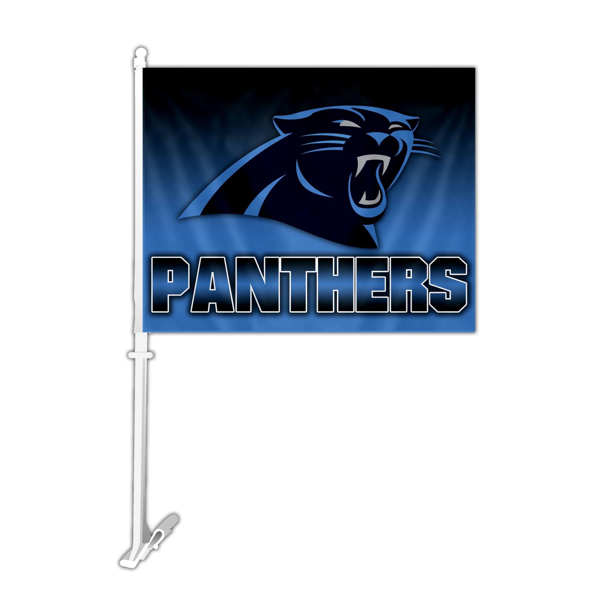 NFL Carolina Panthers Car Flag with Wall Bracket, Team Color